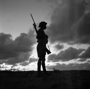 Soldier on sentry duty during World War II, Western desert, North Africa