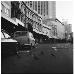 Lambton Quay, the Gresham Hotel and Farmers, and, Taranaki Street wharf area
