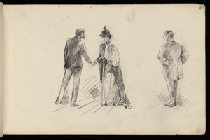 Hodgkins, Frances Mary 1869-1947 :[Man and woman shaking hands, another man watching. 1887]