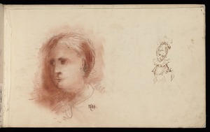 Hodgkins, Frances Mary 1869-1947 :[Head of a child. Woman wearing ruff collar. 1887]