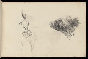 Hodgkins, Frances Mary 1869-1947 :[Back view of woman. Man sleeping. 1887]