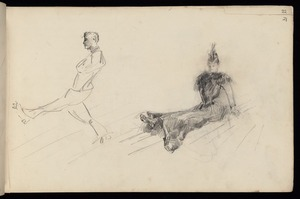 Hodgkins, Frances Mary 1869-1947 :[Man and woman roller skating. 1887]