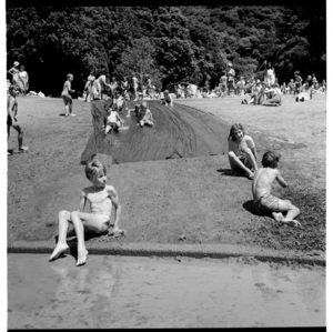 An event with crowds of children at The Dell, Wellington Botanic Gardens
