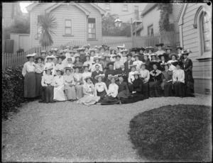 Group of women outside St John's Presbyterian Church, Willis Street, Wellington