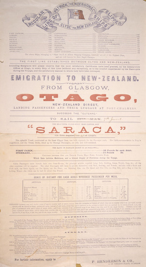 """Patrick Henderson & Co. :Emigration to New Zealand from Glasgow. The beautiful Clyde-built iron clipper ship """"Saraca"""" / P Henderson & Co. [1884]."""