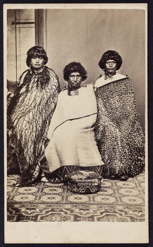 Photographer unknown :Portrait of three women from Lake Taupo