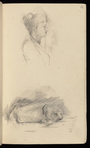 Hodgkins, Frances Mary 1869-1947 :Chappie [dog. Profile of woman with eyeglass. ca 1890]