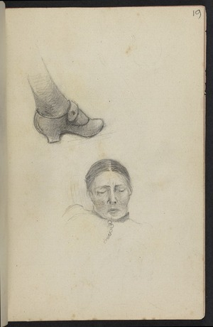 Hodgkins, Frances Mary 1869-1947 :[Study of shoe. Woman sleeping. ca 1890]