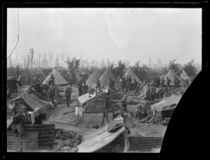 The New Zealand Rifle Brigade in camp near Ypres, World War I