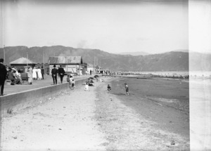View of part of The Esplanade, Petone, and Petone beach