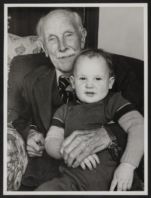 Thomas Duncan Macgregor Stout with his housekeeper's grandson, Anthony Thompson