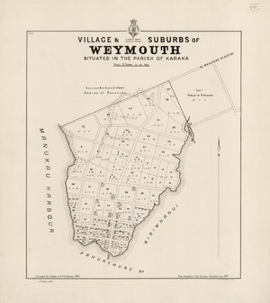 Village & suburbs of Weymouth : situated in the parish of Karaka / surveyed by J. Baber & A.H. Vickerman, 1885 ; J.R. Vaile jr. delt.