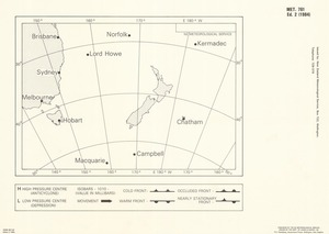 New Zealand Meteorological Service forecasting chart for New Zealand and surrounding seas / drawn by the Dept. of Lands & Survey, NZ..