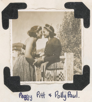 Peggy Pitt greeting Polly Paul - Photographed by Owen Johnson