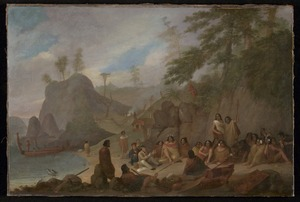 Earle, Augustus, 1793-1838 :[Meeting of the artist and Hongi at the Bay of Islands, November 1827]