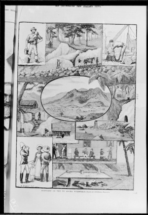 Illustrated New Zealand News :Sketches on Te Aroha goldfield. Illustrated New Zealand News, 21 January 1884.