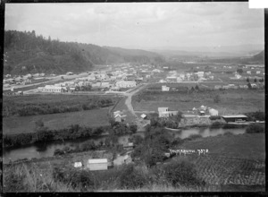 View looking over Taumarunui, with the Ongarue River in the foreground