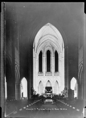 Interior of St Matthew's Church, Auckland at night