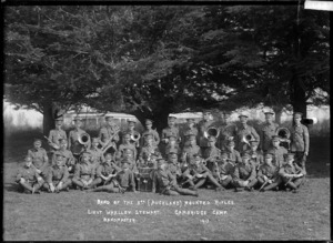 Band of the 3rd (Auckland) Mounted Rifles at the Cambridge Camp, 1913