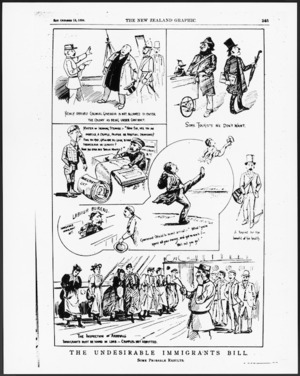 Cartoonist unknown :The Undesirable Immigrants Bill. New Zealand Graphic, 13 October 1894 (page 345).
