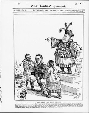 Hunter, Ashley John Barsby, 1854-1932:The great 'Bun Tuck' episode. The New Zealand Graphic and Ladies' Home Journal, 3 September 1898 (front page).
