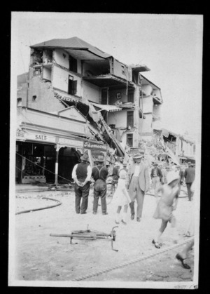 Earthquake damage to the Grand Hotel on Heretaunga Street, Hastings