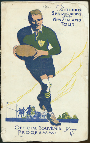 The third Springboks First New Zealand tour. Official souvenir programme. Price 1/-. [1921. Front cover]