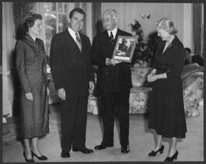 Vice President Richard Nixon and Mrs Nixon with Lord and Lady Norrie at Government House, Wellington