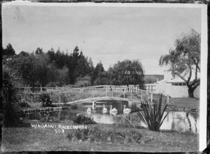 View of the gardens around the Wanganui Racecourse, with swans on a lake