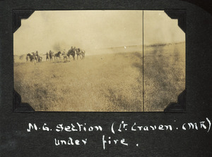Vickers gun section of the Canterbury Mounted Rifles moving into position.