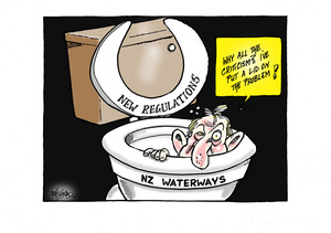 Environment Minister Nick Smith hides in the toilet bowl of NZ waterways claiming his new regulations have put a lid on the problem