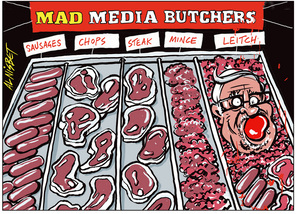 Butchered - Sir Peter Leitch in the Mad Media Butchers shop window
