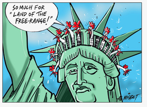 Freeland - battery hens roosting in the Statue of Liberty