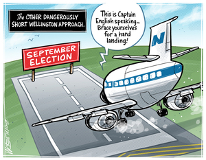 The National Party aeroplane piloted by Bill English attempts a hard landing at the September election airport
