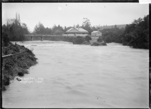 Dam in flood, Warkworth