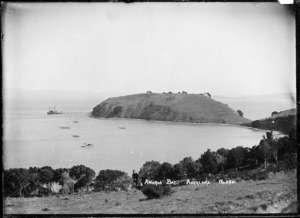 View of the headland and wharf, Awaawaroa Bay, Waiheke Island