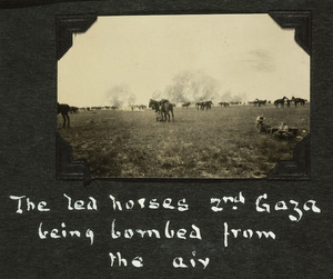 Troops and horses of the Canterbury Mounted Rifles being bombed during the second Battle of Gaza