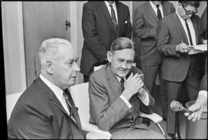 Australian Prime Minister John Gorton and New Zealand Prime Minister Keith Holyoake at a press conference