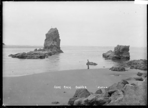 View of Shag Rock at Sumner, near Christchurch