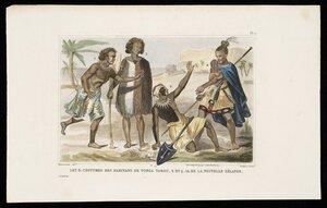 Sainson, Louis Auguste de, b 1801 (after) :Pl. 1. Oceanie. 1 et 3. Costume des habitans de Tonga. 2 et 4. Id. de la Nouvelle Zelande. Demoraine delt; Taillant sculpt. Paris, Imp de Logay, rue de la Bucherie, 1 [1856]