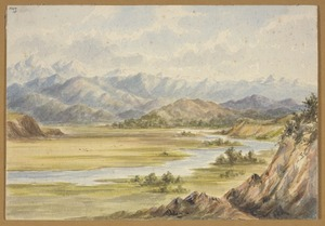 [Barraud, Charles Decimus], 1822-1897 :[River flat and mountain range. 186-].