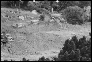 Part 1 of a 2 part panorama showing road-works through the Bolton Street cemetery in preparation for the Wellington motorway