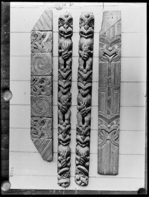 Maori carved panels - Photograph taken by William Henry Thomas Partington