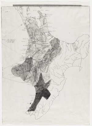 New Zealand Department of Internal Affairs Centennial Publications Branch :[Map of the North Island] showing the main tribal areas, physical features and principal battles prior to 1800. [ms map]