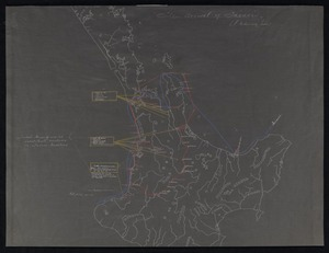 New Zealand Department of Internal Affairs Centennial Publications Branch :The Arrival of Tainui. [copy of ms map] (P te Hurinui Jones).