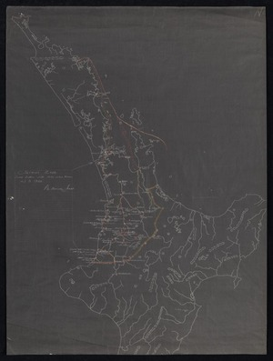 New Zealand Department of Internal Affairs Centennial Publications Branch :Tainui area. Tribal battles with dates (where known) up to 1840. P te Hurinui Jones. [copy of ms map]