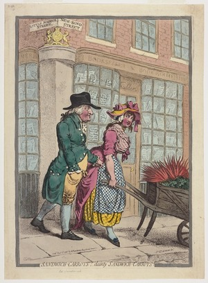 Gillray, James, 1757-1815 :Sandwich-carrots! Dainty Sandwich-carrots. Js. Gy. ad vivam fect. Published Dec.r 3rd 1796 by H. Humphrey, New Bond Street [London]