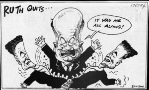 Ellison, Anthony, 1966- :Ruth quits. It was me all along! Auckland Star, 17 July 1994.