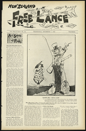 Skipper, M. G., fl 1923 :Haere mai, Uncle Sam! New Zealand Free Lance, 5 December 1923 (front page).
