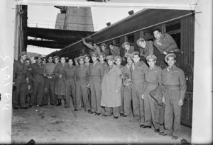 World War II ex-Middle East troops after disembarkation from the ship Strathaird, Wellington - Photograph taken by N Atkinson